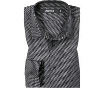 Hemd, Slim Fit, Popeline, schwarz- gemustert