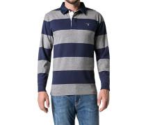 Polo-Shirt Polo Baumwoll-Jersey grau-marine gestreift