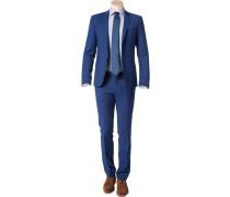 Herren Anzug Slim Fit Schurwolle Super100 blau-schwarz meliert