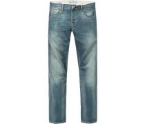 Herren Jeans Slim Fit Baumwoll-Stretch hellgrün