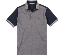 Polo-Shirt Polo, Baumwoll-Jersey, marine-greige