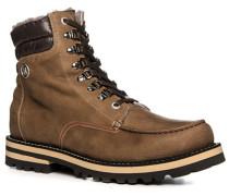Herren Schuhe Schnürstiefel Leder warm gefüttert hellbraun braun,grau
