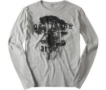 Langarm-Shirt Slim Fit Baumwolle hellgrau