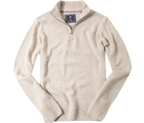 Pullover Zip-Troyer Wolle sand meliert