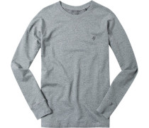 Schlafanzug Pyjama-Oberteil Baumwolle anthrazit meliert