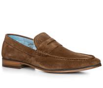 Schuhe Loafer Veloursleder cognac