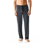 Herren Schlafanzug Pyjamahose Baumwolle indigo gestreift blau