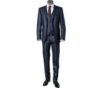 Anzug mit Weste, Slim Fit, Schurwolle