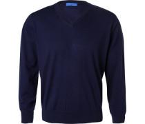 Herren Pullover Baumwoll-Seide-Kaschmir-Mix nachtblau