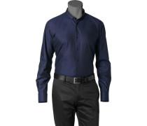Herren Hemd Strukturgewebe nachtblau gemustert