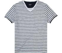 T-Shirt Baumwolle weiß-rauchblau gestreift