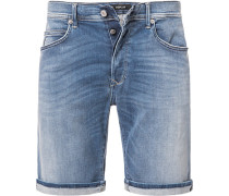 Jeansshorts Tapered Fit Baumwoll-Stretch HYPERFLEX STRETCH DENIM 11,5oz jeansblau