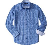 Herren Hemd Classic Fit Baumwolle königsblau-weiß