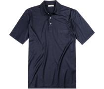 Polo-Shirt Polo Seiden-Jersey dunkelblau meliert