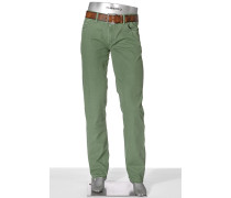 Herren Jeans Pipe Regular Slim Fit Fadeout Twill mit Stretch apfelgrün