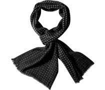 Herren  Schal Wolle schwarz-weiß gepunktet