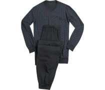 Schlafanzug Pyjama Baumwolle anthrazit-hellblau gemustert