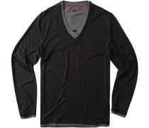 Herren T-Shirt Longsleeve Baumwoll-Mix schwarz