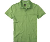 Polo-Shirt Slim Fit Baumwoll-Piqué hellgrün
