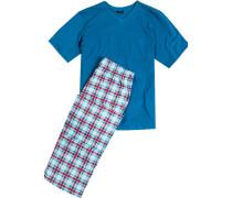 Schlafanzug Pyjama, Baumwolle, petrol kariert