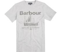 T-Shirt Baumwolle hellgrau gemustert