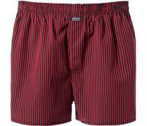 Herren Unterwäsche Boxer-Shorts Baumwolle rot schwarz gestreift