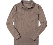 Herren Polo-Shirt Polo Baumwoll-Jersey taupe meliert beige
