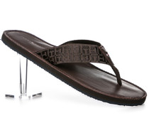 Schuhe Zehensandale Textil dunkelbraun