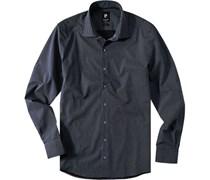 Herren Hemd Popeline schwarz-hellblau gemustert