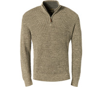 Pullover Troyer, Baumwolle, greige meliert