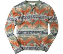 Pullover Baumwolle schilfgrün-orange gemustert