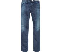 Blue-Jeans Slim Straight Baumwoll-Stretch jeansblau