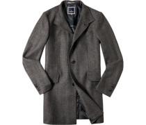Herren Mantel Woll-Mix grau gemustert grau,blau