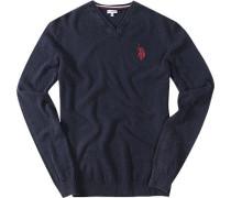 Pullover Baumwolle dunkelblau meliert