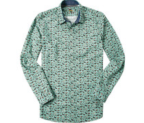 Herren Ober-Hemd Slim Fit Popeline mintgrün gemustert