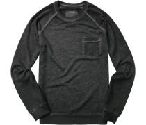 Herren Pullover Sweater Baumwoll-Mix schwarz meliert