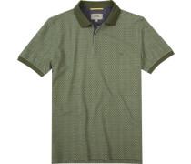 Polo-Shirt Polo Baumwoll-Piqué khaki gemustert