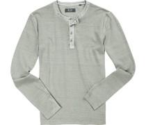 T-Shirt Longsleeve, Baumwolle, hellgrau meliert