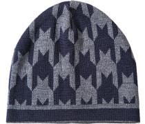 Mütze, Wolle, dunkelblau gemustert