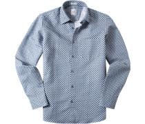 Hemd Modern Fit Baumwoll-Leinen -türkis gemustert
