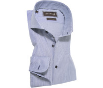 Herren Hemd Custom Fit Popeline Extra langer Arm marine-weiß gestreift blau