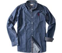 Herren Hemd Slim Fit Baumwoll-Denim jeansblau
