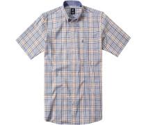 Herren Hemd Regular Fit Pinpoint blau-gelb kariert
