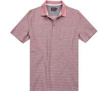 Polo-Shirt Polo Baumwoll-Pique -grau gestreift