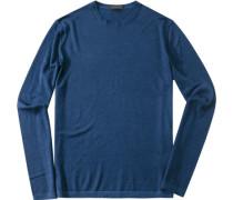 Pullover Schurwoll-Mix tintenblau