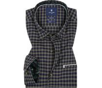 Hemd, Modern Fit, Baumwolle, dunkelblau-braun kariert