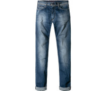 Blue-Jeans, Slim Fit, Baumwoll-Stretch, mittelblau