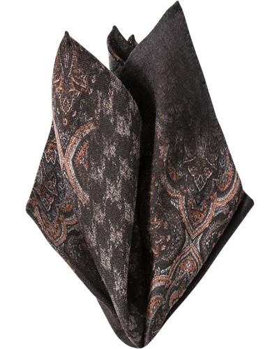 Accessoires Einstecktuch Wolle dunkelbraun gemustert