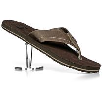 Schuhe Zehensandalen Leder graubraun-dunkelbraun