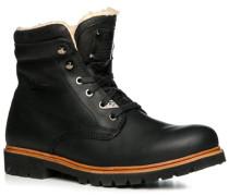 Herren Schuhe Schnürstiefeletten Leder warm gefüttert schwarz schwarz,weiß